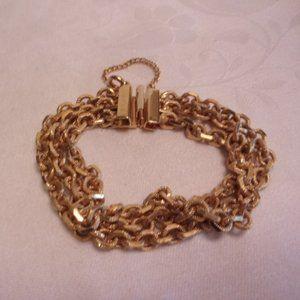 """Vintage Gold Tone Triple Chain Bracelet 7.5"""" L"""